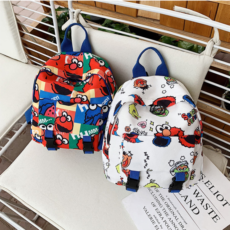 Cartoon Sesame Street Canvas Backpacks Bag For Toddler Kids