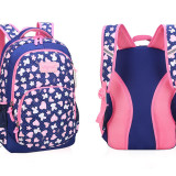Primary School Backpack Bag Girl Hearts Flowers Lightweight Waterproof Bookbag