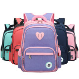 Primary School Backpack Bag Matching Color Heart Lightweight Waterproof Bookbag