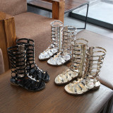 Gold Stars Applique Metallic Gladiator Sandals For Toddler Girl Kids