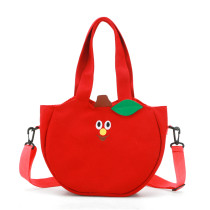 Embroidery Fruit Apple And Banana Canvas Crossbody Shoulder Bags For Toddler Kids