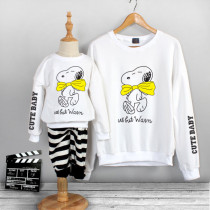 Matching Family Prints Slogan Cute Cartoon Snoopy Dog Famliy Sweatshirts Top