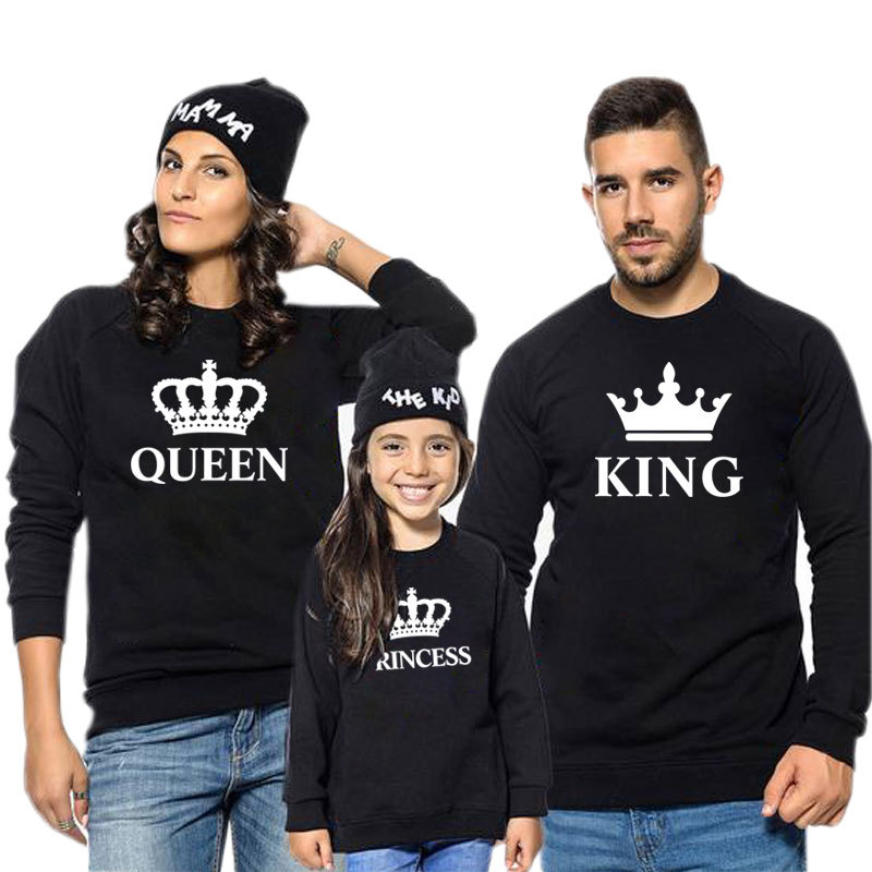 Matching Family Prints Slogan Crown King Queen Prince Princess Famliy Sweatshirts Top