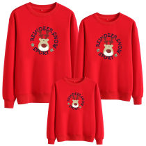 Matching Family Prints Slogan Christmas Deer Famliy Sweatshirts Top