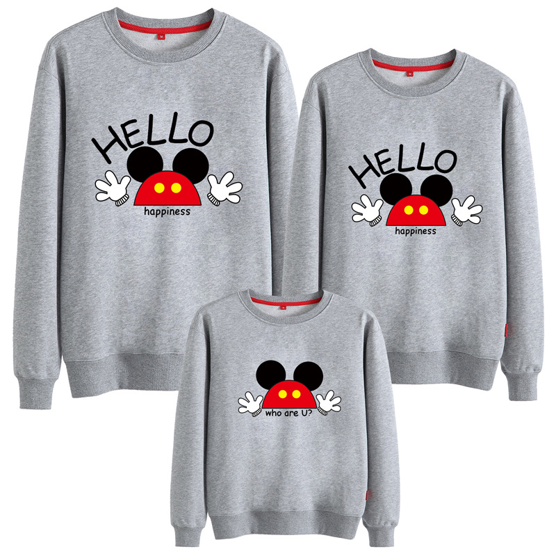 Matching Family Prints Slogan Mickey Famliy Sweatshirts Top