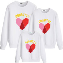 Matching Family Prints Slogan Romantic Red Heart Famliy Sweatshirts Top