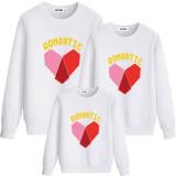 Matching Family Prints Slogan Romantic Red Heart Famliy Sweatshirts Top