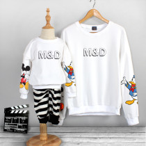 Matching Family Prints Slogan Mickey Mouse and Donald Duck Famliy Sweatshirts Top