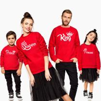 Matching Family Prints Slogan Crown King Queen Prince Princess Famliy Sweatshirts Top
