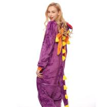 Purple Dinosaur Onesie Kigurumi Pajamas Cosplay Costume for Unisex Adult