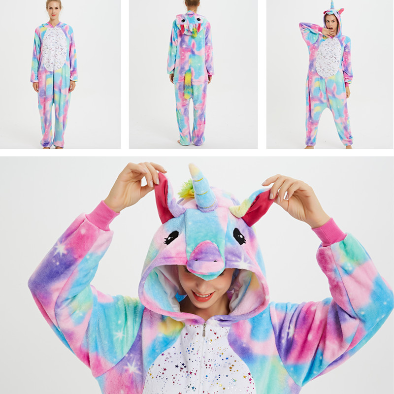 Rainbow Stars Unicon Onesie Kigurumi Pajamas Cosplay Costume for Unisex Adult