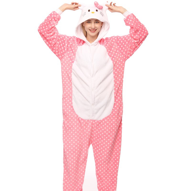Hello Kitty Cat Onesie Kigurumi Pajamas Cosplay Costume for Unisex Adult