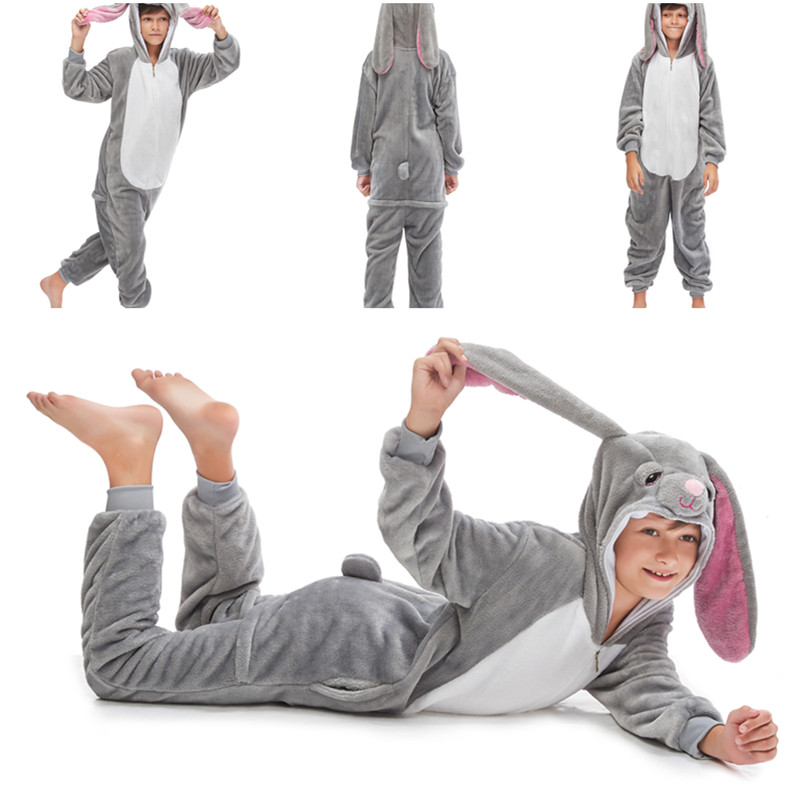 Kids Grey MashiMaro Rabbit Onesie Kigurumi Pajamas Animal Cosplay Costumes for Unisex Children