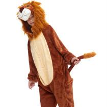 Kids 3D Brown Lion King Onesie Kigurumi Pajamas Animal Cosplay Costumes for Unisex Children