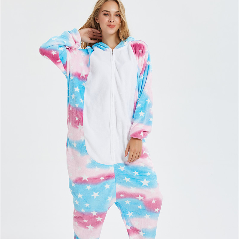 Pink Blue Unicon Onesie Kigurumi Pajamas Cosplay Costume for Unisex Adult