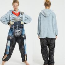 Grey Blue Wild Ox Onesie Kigurumi Pajamas Cosplay Costume for Unisex Adult