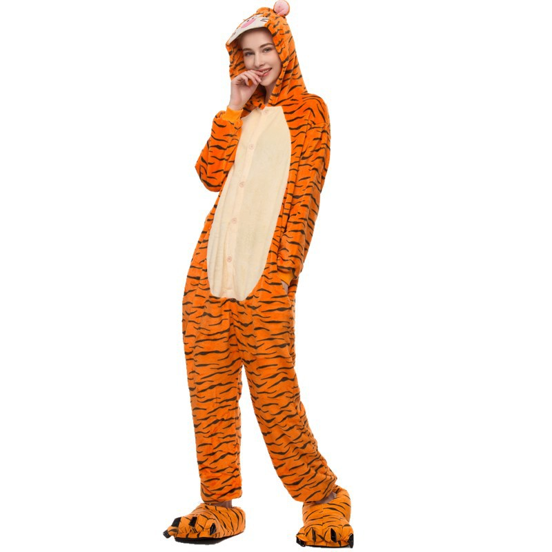 Orange Tigger Onesie Kigurumi Pajamas Cosplay Costume for Unisex Adult