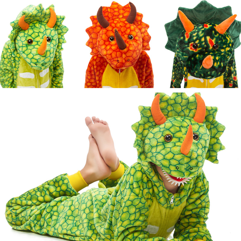 Kids Triceratops Dinosaur Onesie Kigurumi Pajamas Animal Cosplay Costumes for Unisex Children