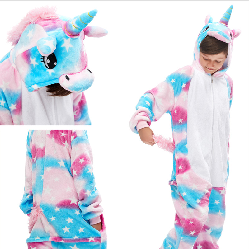 Kids Pink Blue Stars Unicon Onesie Kigurumi Pajamas Animal Cosplay Costumes for Unisex Children