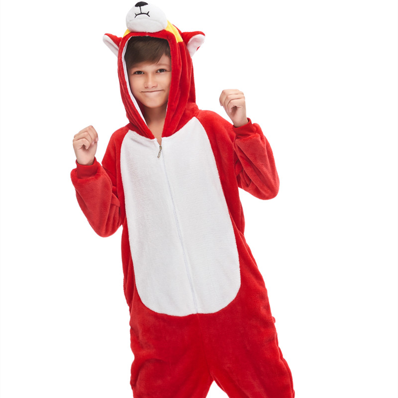 Kids Red Husky Dog Onesie Kigurumi Pajamas Animal Cosplay Costumes for Unisex Children