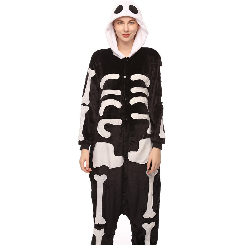 Halloween White and Black Human Skeleton Onesie Kigurumi Pajamas Cosplay Costume for Unisex Adult