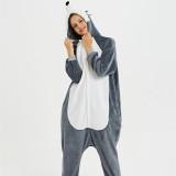3D Grey Plush Husky Dog Onesie Kigurumi Pajamas Cosplay Costume for Unisex Adult