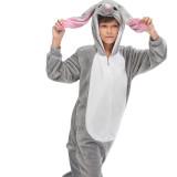 Kids Grey MashiMaro Rabbit Onesie Kigurumi Pajamas Animal Cosplay Costumes for Unisex Children