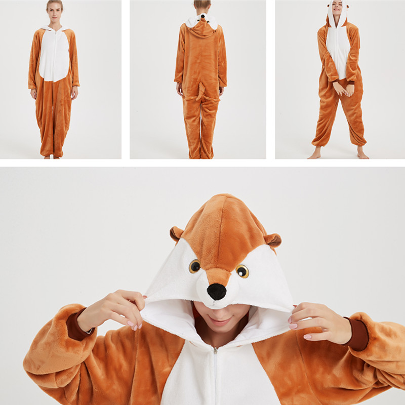 Brown Mongoose Onesie Kigurumi Pajamas Cosplay Costume for Unisex Adult