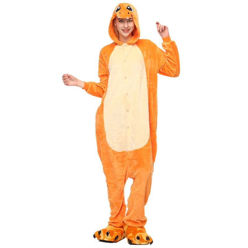 Orange Dinosaur Onesies Kigurumi Pajamas Cosplay Costume for Unisex Adult