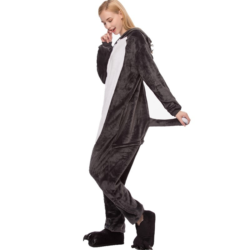 Grey Wolf Onesie Kigurumi Pajamas Cosplay Costume for Unisex Adult