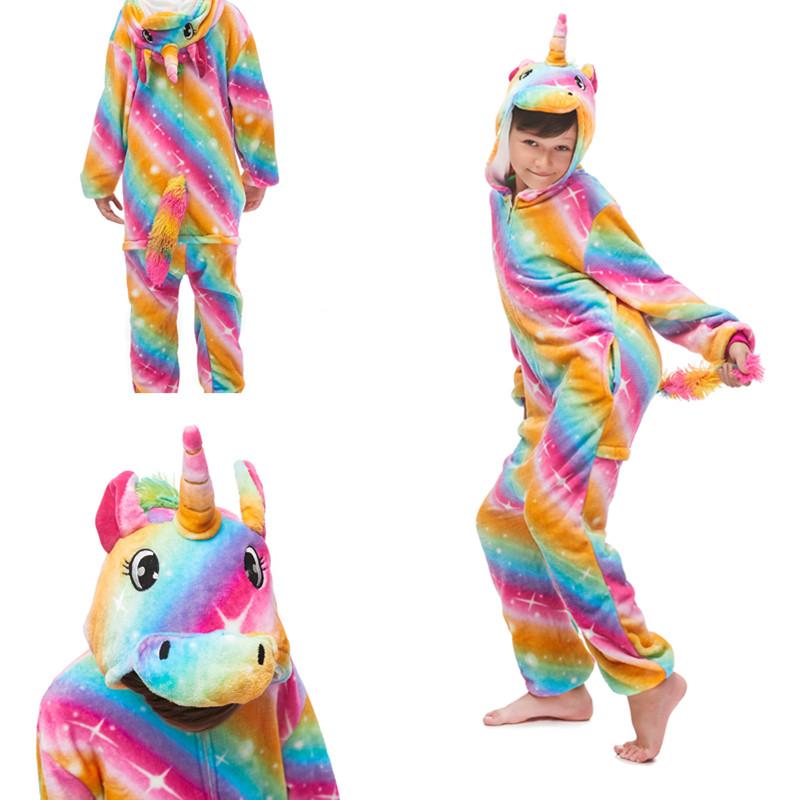 Kids Rainbow Stars Unicon Onesie Kigurumi Pajamas Animal Cosplay Costumes for Unisex Children