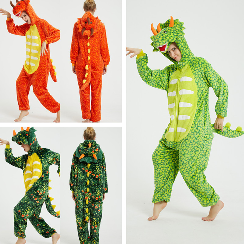 Triceratops Dinosaur Onesie Kigurumi Pajamas Cosplay Costume for Unisex Adult