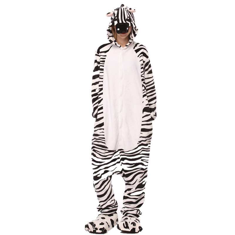 White and Black Zebra Onesie Kigurumi Pajamas Cosplay Costume for Unisex Adult