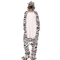 White and Black Zebra Onesie Kigurumi Pajamas Cosplay Costume for Unisex Adult