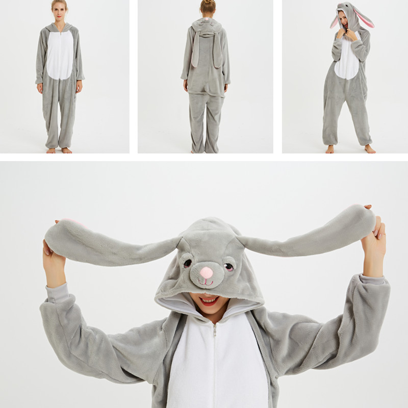 Grey MashiMaro Rabbit Onesie Kigurumi Pajamas Cosplay Costume for Unisex Adult