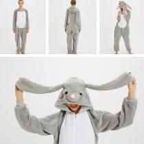 Grey MashiMaro Rabbit Onesie Kigurumi Pajamas Cosplay Costume for Unisex Adult