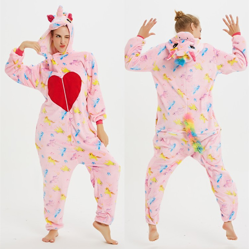 Pink Heart Unicons Onesie Kigurumi Pajamas Cosplay Costume for Unisex Adult