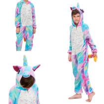 Kids Blue Rainbow Stars Onesie Kigurumi Pajamas Animal Cosplay Costumes for Unisex Children