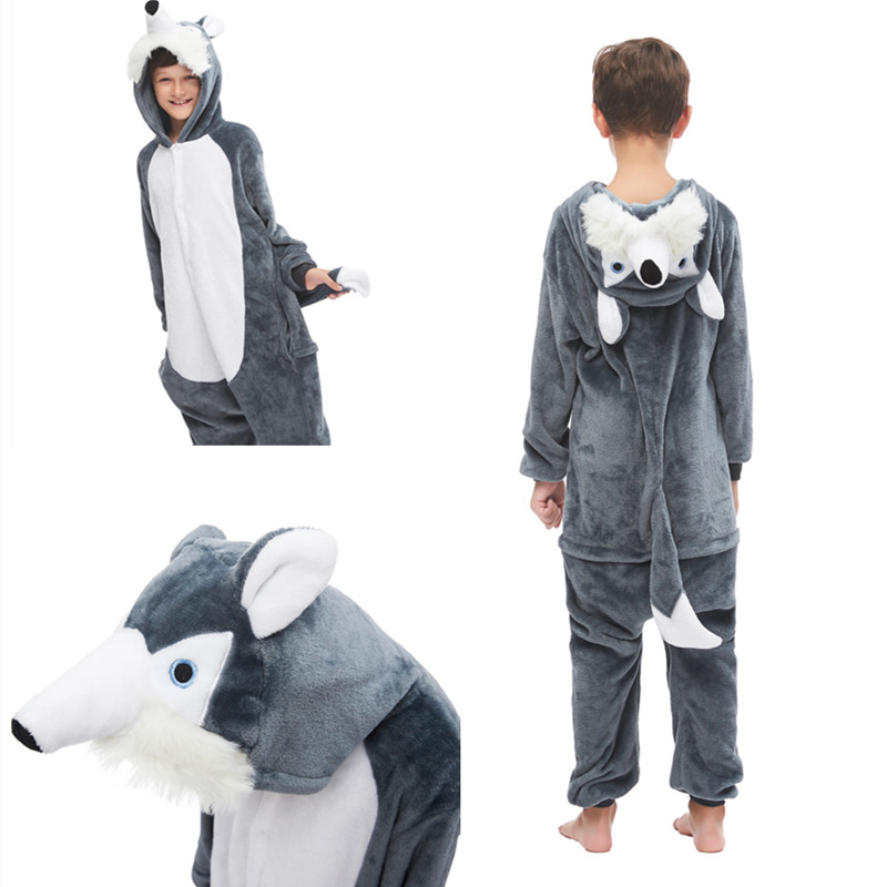 Kids 3D Grey Plush Husky Dog Onesie Kigurumi Pajamas Animal Cosplay Costumes for Unisex Children