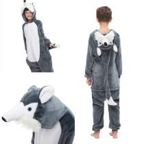 Kids 3D Grey Plush Husky Dog Onesie Kigurumi Pajamas Animal Cosplay Costumes for Unisex Children