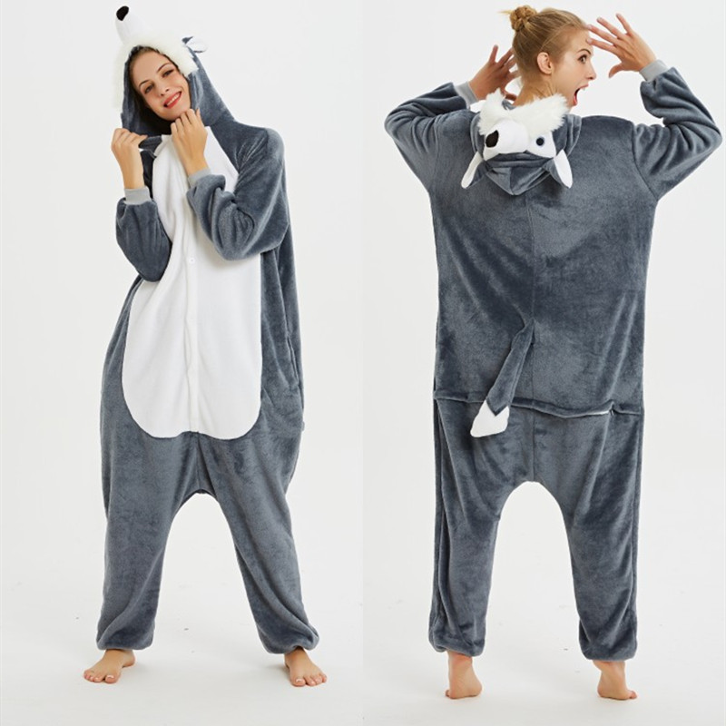 3D Grey Plush Husky Dog Onesie Kigurumi Pajamas Cosplay Costume for Unisex Adult