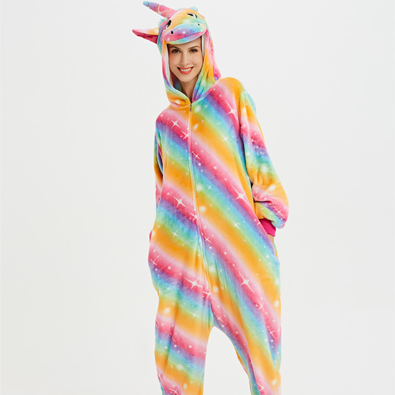 Rainbow Unicon Onesie Kigurumi Pajamas Cosplay Costume for Unisex Adult