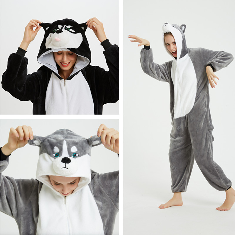 Husky Dog Onesie Kigurumi Pajamas Cosplay Costume for Unisex Adult