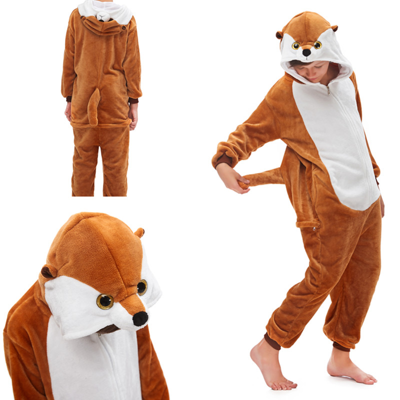 Kids Brown Mongoose Onesie Kigurumi Pajamas Animal Cosplay Costumes for Unisex Children