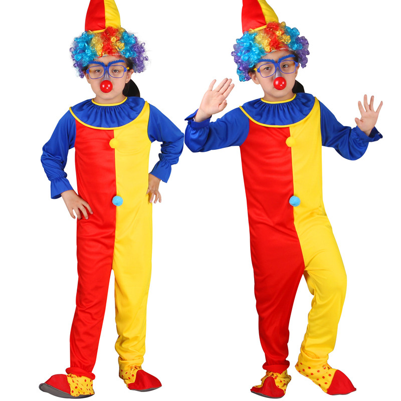 Clown Red Yellow Macthing Color Performance Costume Jumpsuit With Hat