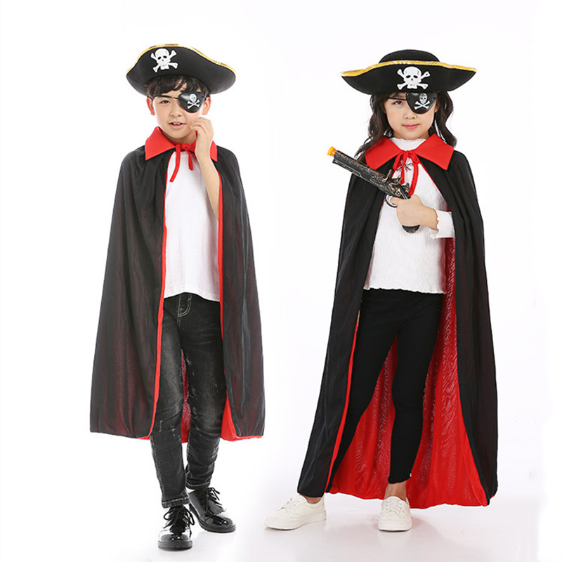 Halloween Costume Pirate skull Performance Cloak With Hat and Masks
