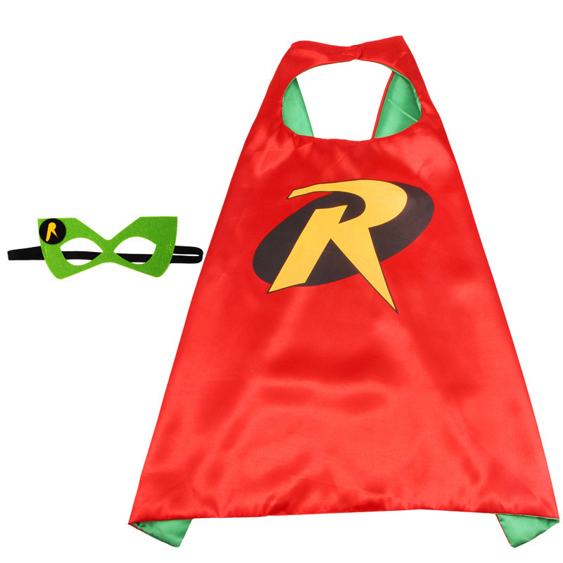 Robin Cartoon Costumes Cosplay Cloak Double Sided Satin Capes with Felt Masks for Kids
