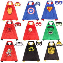 Captain America Halloween Costumes Cosplay Cloak Double Sided Satin Capes with Felt Masks for Kids