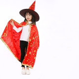 Halloween Cosplay Little Witches Enchanter Costume Gold Stars Cloak Cape With Hat