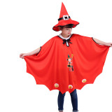 Print Pumpkin Witch Cat Cloak Cape Halloween Costume Cosplay Suit With Hat